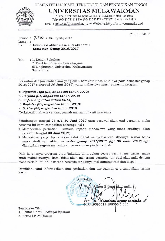 Informasi Akhir Masa Cuti Akademik Semester Genap 20162017